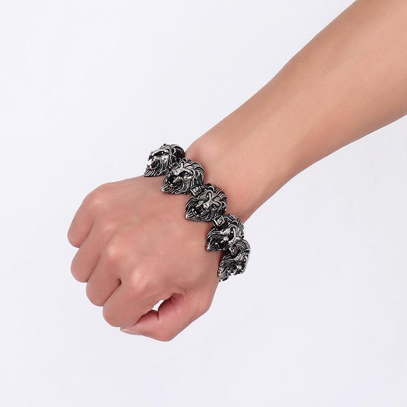 Vnox 9 pouces Lion Punk Bracelets pour hommes hip-hop Bracelets et Bracelets pour hommes Top qualité en acier inoxydable - 2