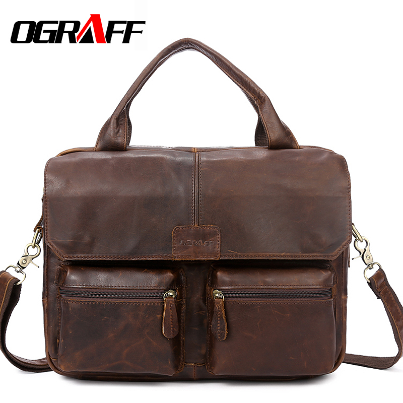 OGRAFF Handbag Men <font><b>Bag</b></font> Genuine Leather Briefcases Shoulder <font><b>Bags</b></font> Laptop Tote men Crossbody <font><b>Messenger</b></font> <font><b>Bags</b></font> Handbags designer <font><b>Bag</b></font>
