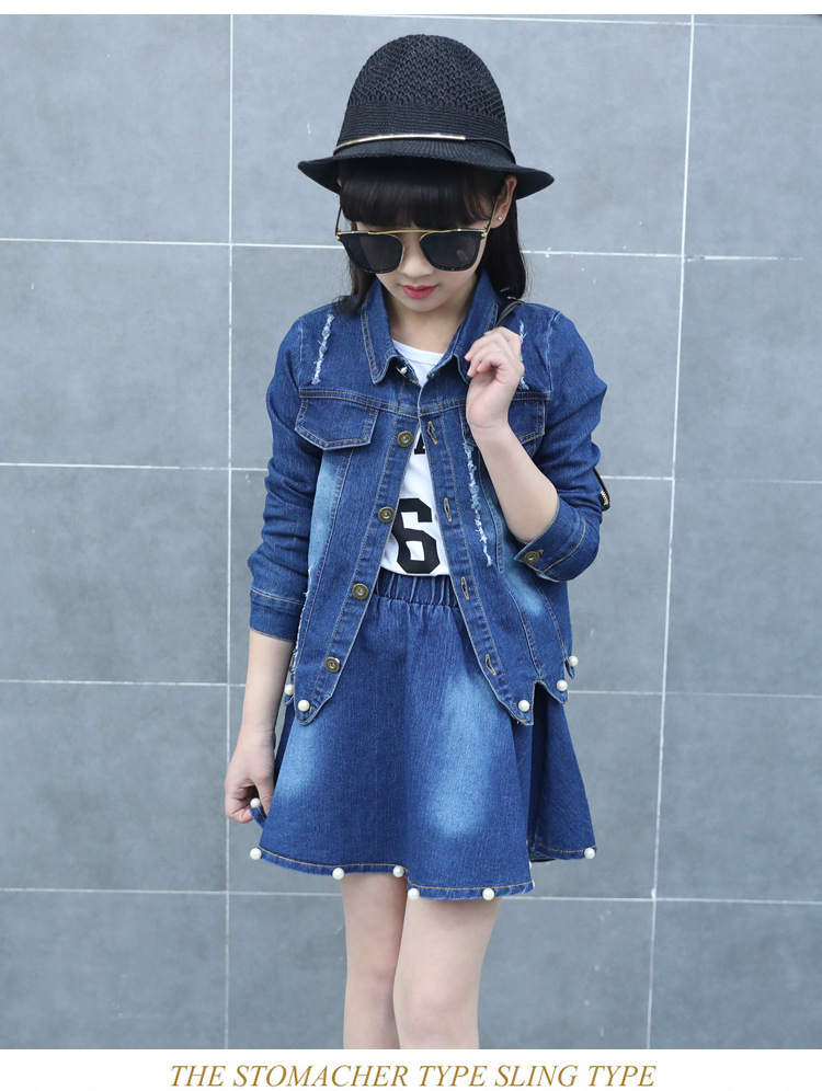 Children's clothing girls spring and autumn suit 2017 new big girl girl cowboy dress skirt 6-7-8-12 years old Denim skirt 2016 autumn and spring new girl fashion cowboy short jacket bust skirt two suits for2 7 years old children clothes set