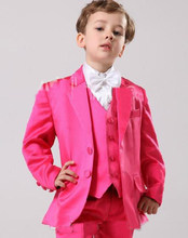 Hot Pink Two Buttons Boy Tuxedos Notch Lapel Children Suit Boy's Formal Wear Texedos Kid Wedding/Boy Prom Suits(China)