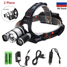 2 Piece/lot USB 10W 2000LM Brightness 5 Modes Zoomable Headlight 3X XM-L T6 LED Headlamp Biking+Rechargeable 18650