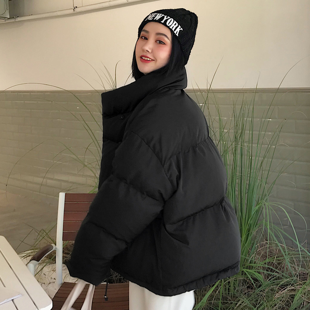Winter Jacket Women Stand Collar Solid Black White Female Down Coat Parka 4