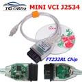 V15 00.028 MINI VCI для TOYOTA TIS Techstream mini vci FTDI FT232RL чип J2534 OBD2 автомобильный диагностический кабель с поддержкой нескольких языков