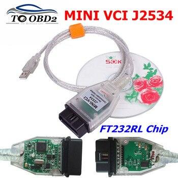 V15,00.028 MINI VCI для TOYOTA TIS Techstream mini vci FTDI FT232RL чип J2534 OBD2 автомобильный диагностический кабель с поддержкой нескольких языков