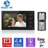 7 pollici TFT Touch Key LCD Screen a Colori Video Telefono Del Portello Campanello Intercom Sistema 700TVL Visione Notturna Macchina Fotografica Impermeabile Citofono