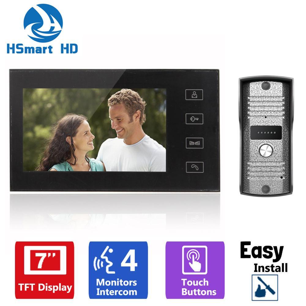 7inch TFT Touch Key LCD Screen Color Video Door Phone Doorbell Intercom System 700TVL Night Vision Waterproof Camera Doorphone