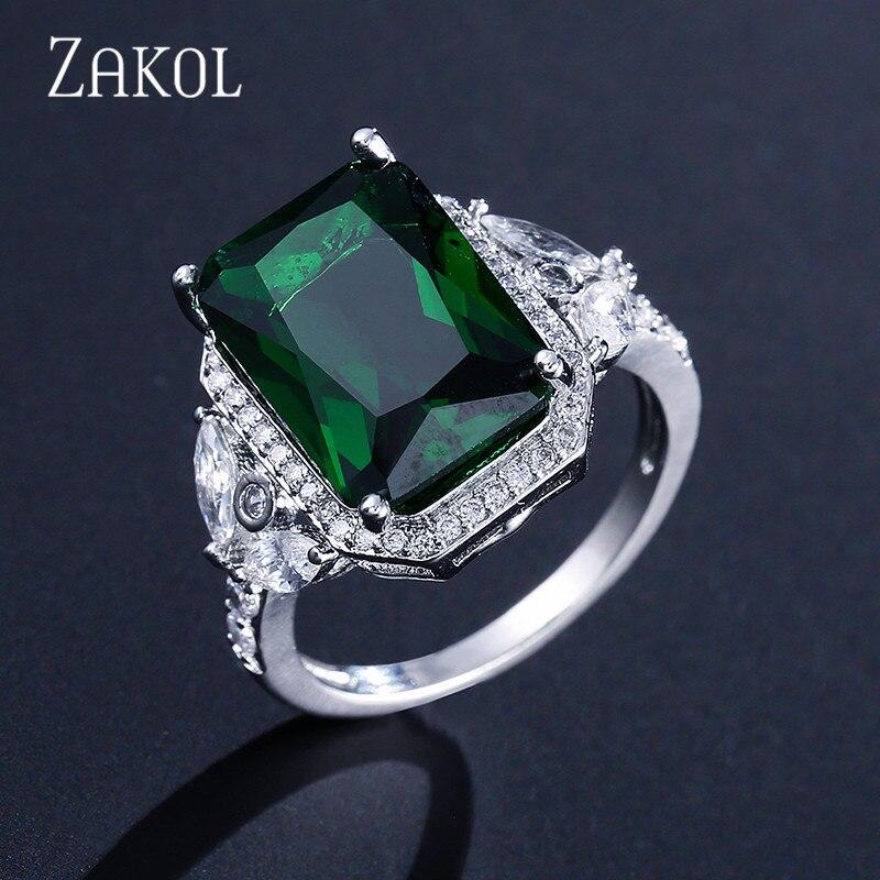 9157460d1a09 ZAKOL nueva llegada de moda gran cuadrado verde cúbico zirconio piedra  plata Color dedo anillo para Mujeres Hombres boda joyería FSRP2027