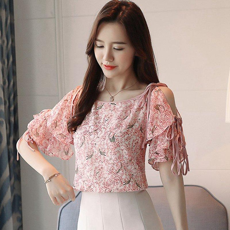 SEXMKL S-XXL Summer Top Women Print Blouses 2018 Sexy Short Sleeve Off Shoulder Shirt Chiffon Camisa Feminina Blouses Female