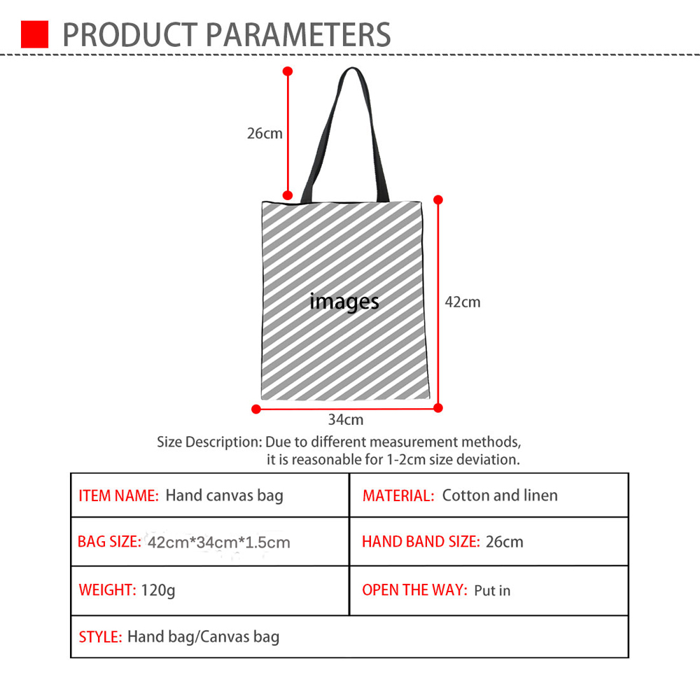 3D Book Cat Dog Pattern Durbale Shopping Bags Casual Linen Tote Bags Eco-Friendly Large Cloth Storage Bags
