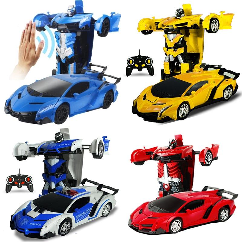 2In1 RC Car Sports Car Transformation Robots Models Remote Control Deformation Car RC fighting toy KidsChildrens Birthday GiFT