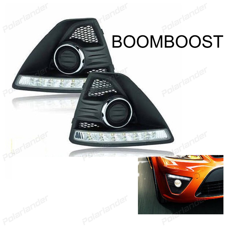 BOOMBOOST 2 pcs LED Car DRL daytime running light  For Ford Focus 2009-2011 Bumper Front Fog lamp with dimming style Relay 2009 2011 year for ford for focus 2 led head light with projector lens sn