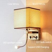 Applique Murale Luminaire E27 Bulb USB Wall Sconces Living Room Bedroom Lamp Night Wall Light for home Loft Decor Modern