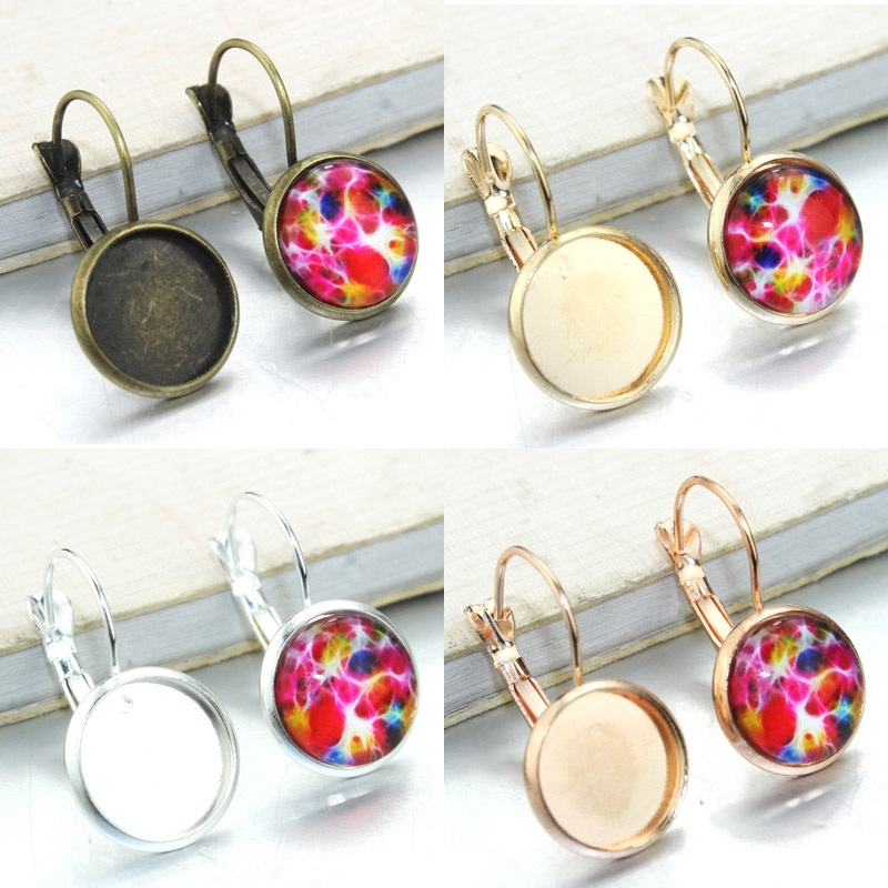 12mm 20pcs/lot 4 Colors Zinc alloy Earrings Blank/Base,Fit 16mm Glass Cabochons,snap button skeleton hands style zinc alloy earrings golden pair