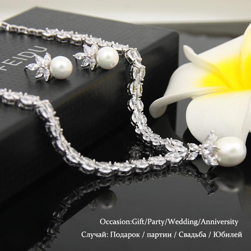 Élégant simulé perle bijoux de mariée ensembles de bijoux de mariage feuille cristal colliers boucles d'oreilles ensembles de bijoux pour les femmes AS087 - 5