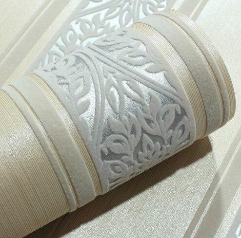 Papier peint italien 3D rayure verticale argent damas luxe Europe velours troupeau papier peint rouleau canapé fond décor