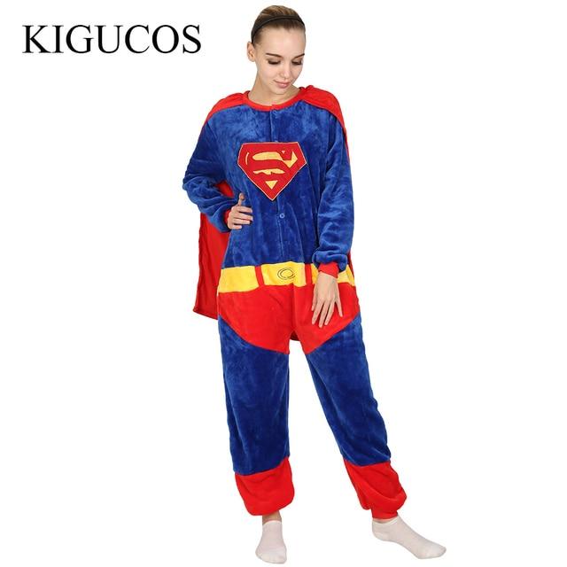 KIGUCOS Мстители Хэллоуин Супермен Косплэй костюм Бэтмен фланелевая теплая  Pigiama паук взрослых унисекс Комбинезоны пижамы c062952b64dac