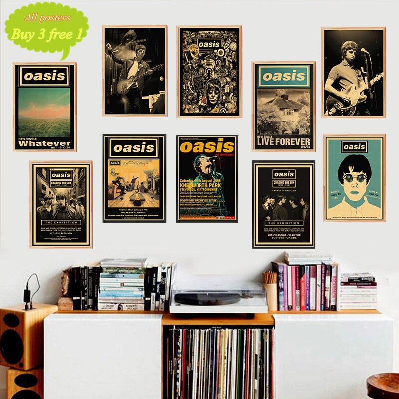 OASIS Rock Music Retro Poster Nostalgia Rock Band Music Kraft Paper Poster Bar Cafe Living Room Decorative