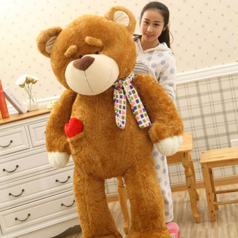 Kawaii Soft Eyebrow Animal Bear 160cm Big Size Plush Toys Love Bear Doll Teddy Bear Carf Bear For Children Birthday Gift Toys kawaii 140cm fashion stuffed plush doll giant teddy bear tie bear plush teddy doll soft gift for kids birthday toys brinquedos