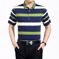 New  Arrival Summer Mans Fashion Contrast Color Wide Stripes Mercerized Cotton Polo Shirt