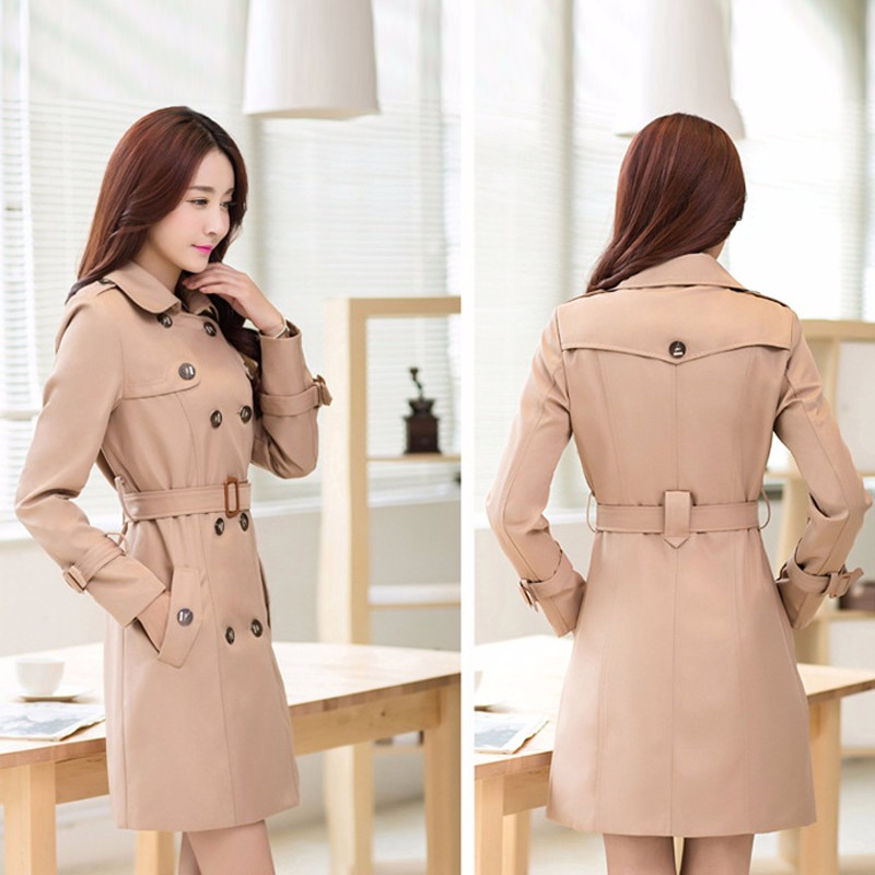 Ladies Slim Trench Coat Turn-Down Collar Windbreaker Double Breast Trenchcoat Plus Size Vintage Trench Coats 2016