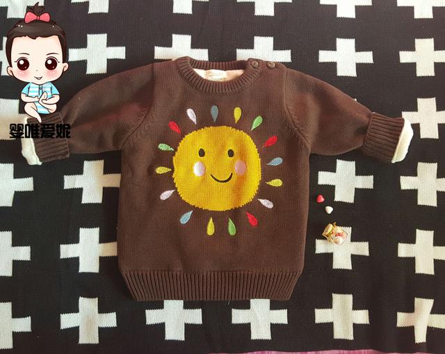 Ins venta caliente 2016 más nueva del bordado sol niños KIKIKIDS espesantes más bebé de terciopelo pull Over suéter bebé ropa