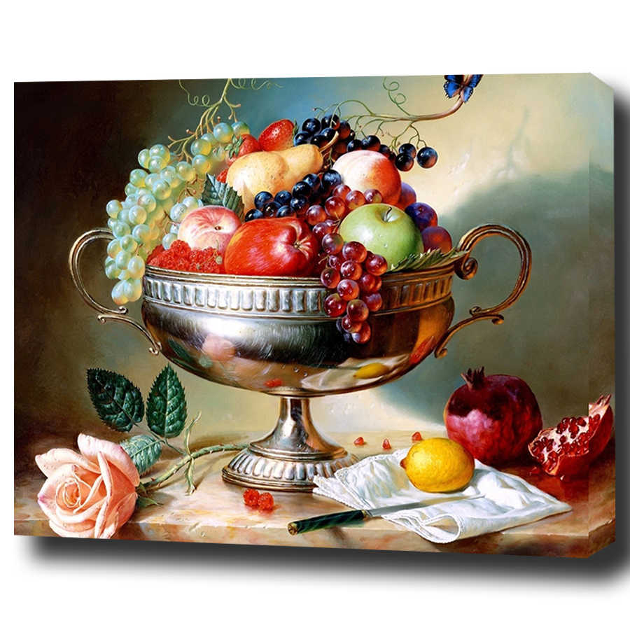 Fresh Fruit Platter Framed Pictures DIY Coloring Painting By Numbers Oil Painting On Canvas For Home Decoration Living Wall Art
