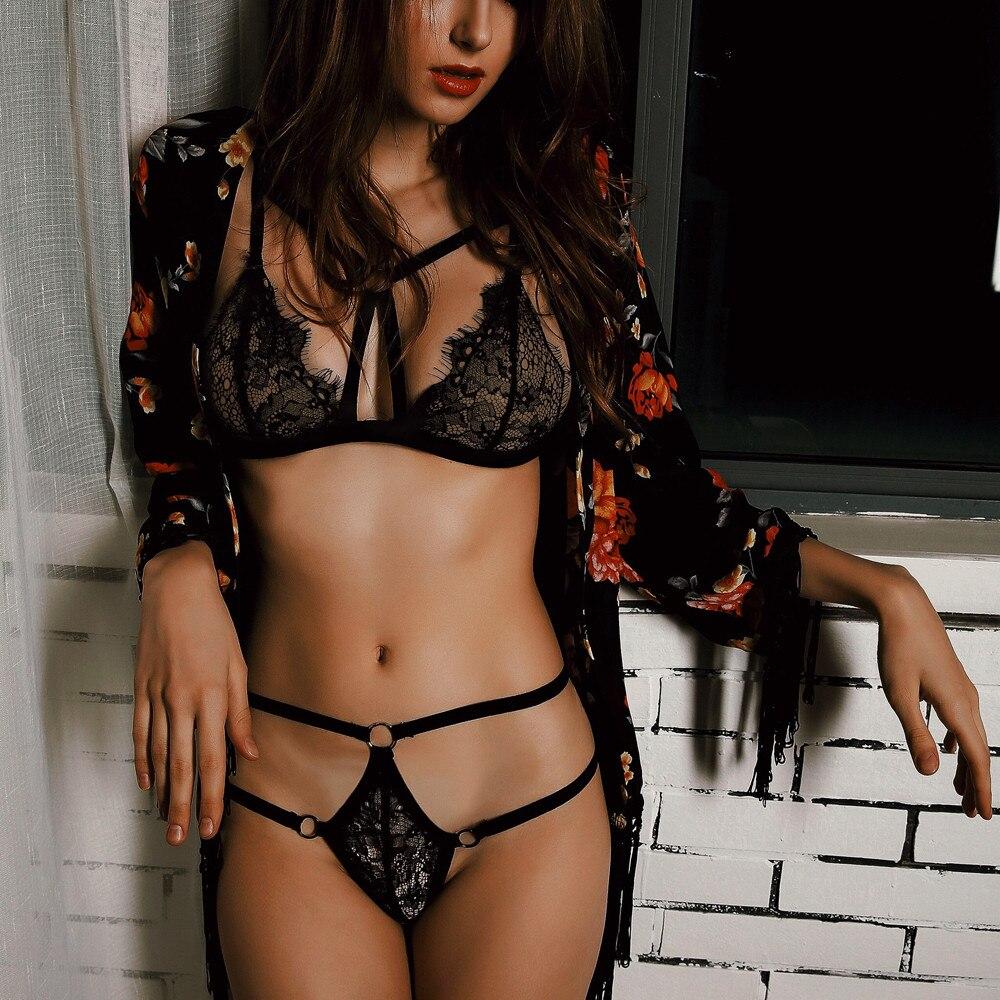 Womens lace sheer sexy sleepwear robe bathrobe nightwear dress lingerie sets