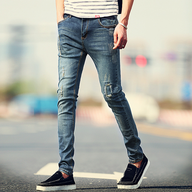 8554d706 New Arrival Fashion Men's Jeans Water-washed Straight Pants Blue Ripped  Jeans Men Robin Men'S Skinny Jeans Plus Size 36