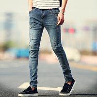 New Arrival Fashion Men's Jeans Water-washed Straight Pants Blue Ripped Jeans Men Robin Men'S Skinny Jeans Plus Size 36