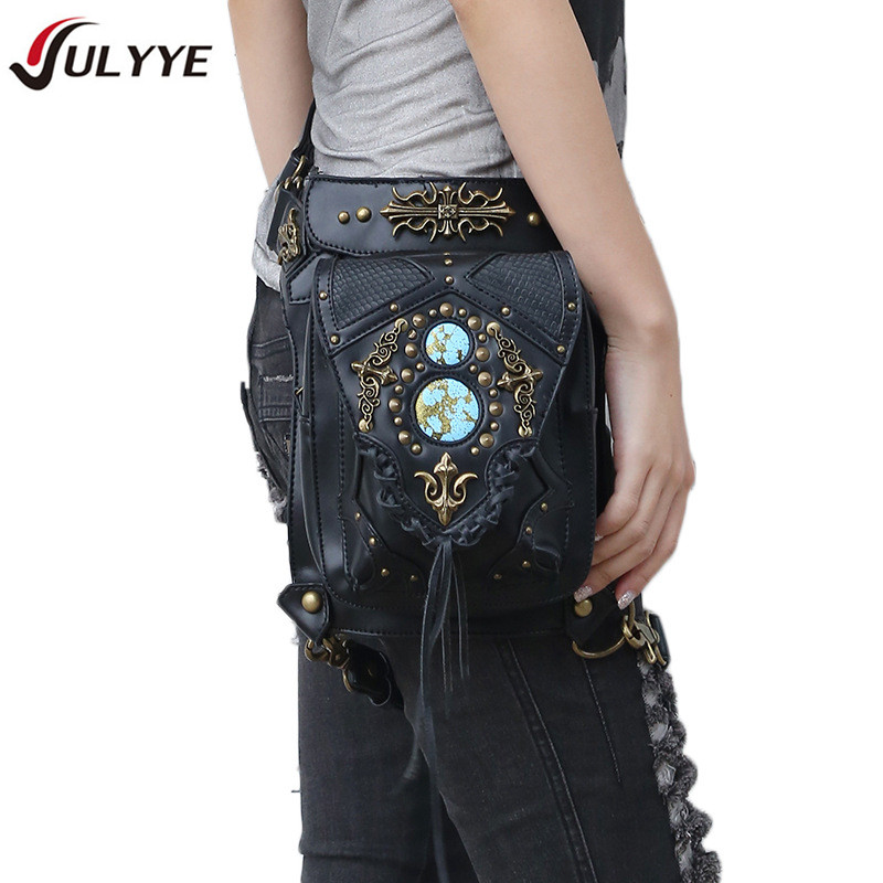 YULYYE New Cool Punk Bags Riveting Bag Unisex Knight Drop Leg Bag Multifunction Vintage Cowboy Style PU Leather Locomotive Bag