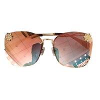 New Arrival Ladies Frameless Sunglasses Women 2019 High Quality Brand Designer Diamond Sun Glasses Female Oculos de sol UV400