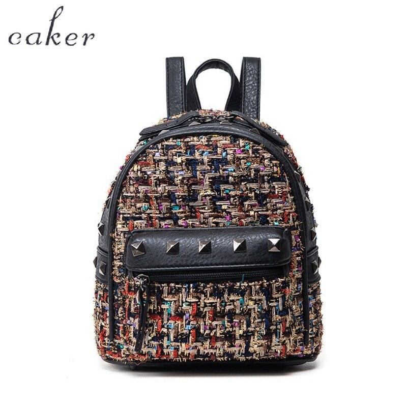 Caker Brand Women Pink Backpack Vintage Rivet PU Mini Shoulder Bags For Ladies High Quality Top