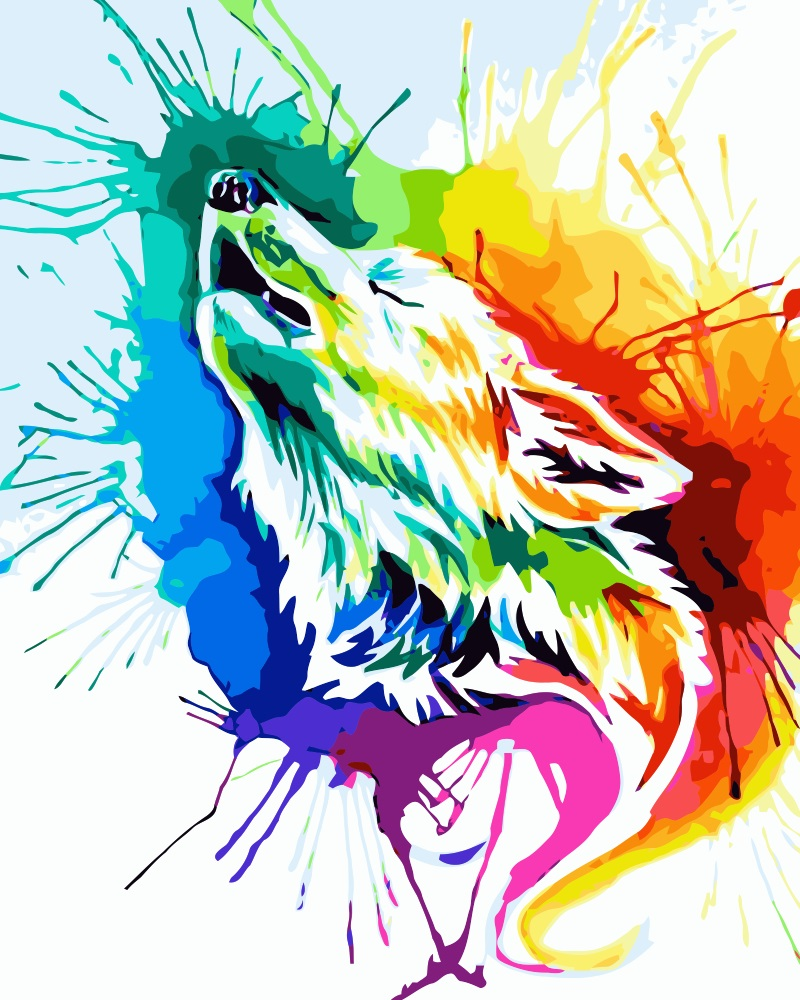 MaHuaf i733 colorful wolf abstract painting by numbers