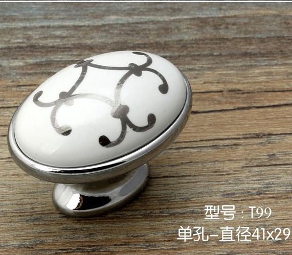 20pcs Single Hole oval knob Zinc alloy ceramic Kitchen cabinet knob drawer pulls furniture handle with silver flower print the aluminum knob wide 15mmx high shaft hole flower 6mm 17mm