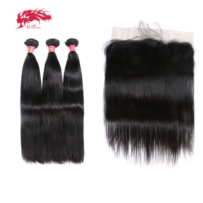 Ali Queen Hair Ear To Ear Lace Frontal Closure With 3 Bundles Brazilian Straight Human hair
