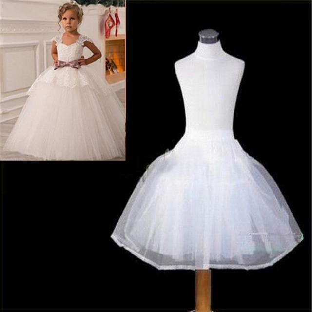 Hot Sale Children Petticoats Wedding Bride Accessories Little Girls Crinoline White Long Flower Girl Formal Dress Underskirt