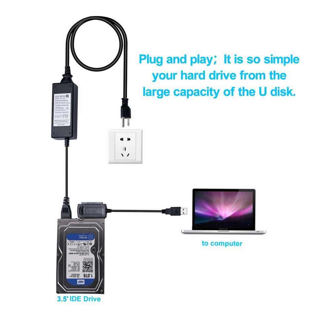 """ITINFTEK SATA PATA IDE Drive To USB 2.0 Adapter Converter Cable For Hard Drive Disk HDD 2.5"""" 3.5"""" With External AC Power Adapter"""