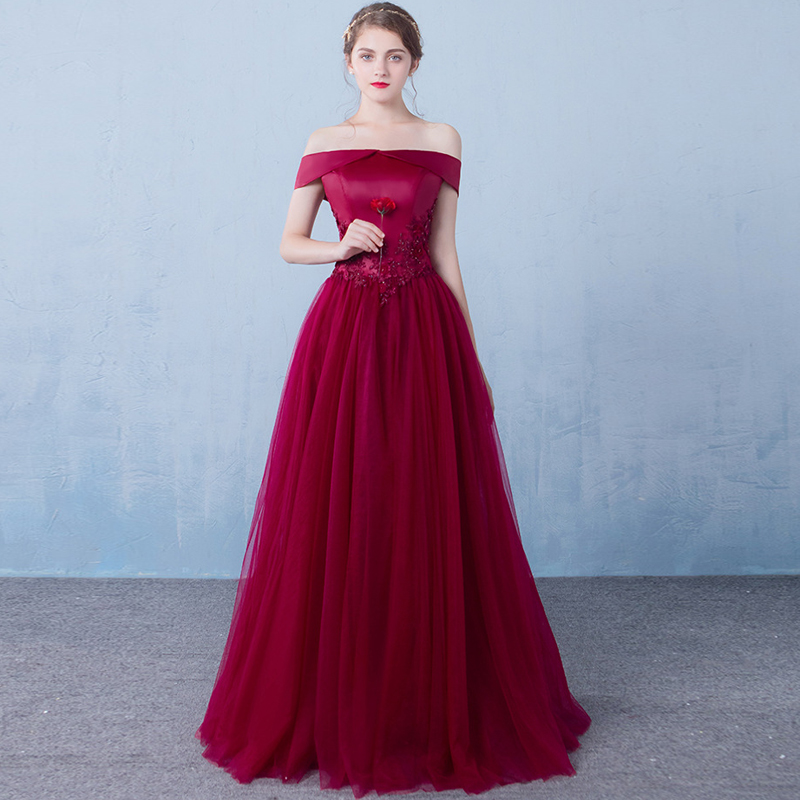 Lace Beading   Evening     Dresses   A-line Tulle Boat Neck Wine Red Long Formal Prom Party   Dress   Elegant New Style