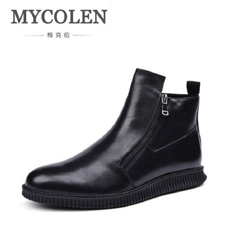 MYCOLEN Men Ankle Boots Genuine Leather Luxury Fashion Black Martin Boots Business Men Shoes With Zipper Rangers Botte Militaire