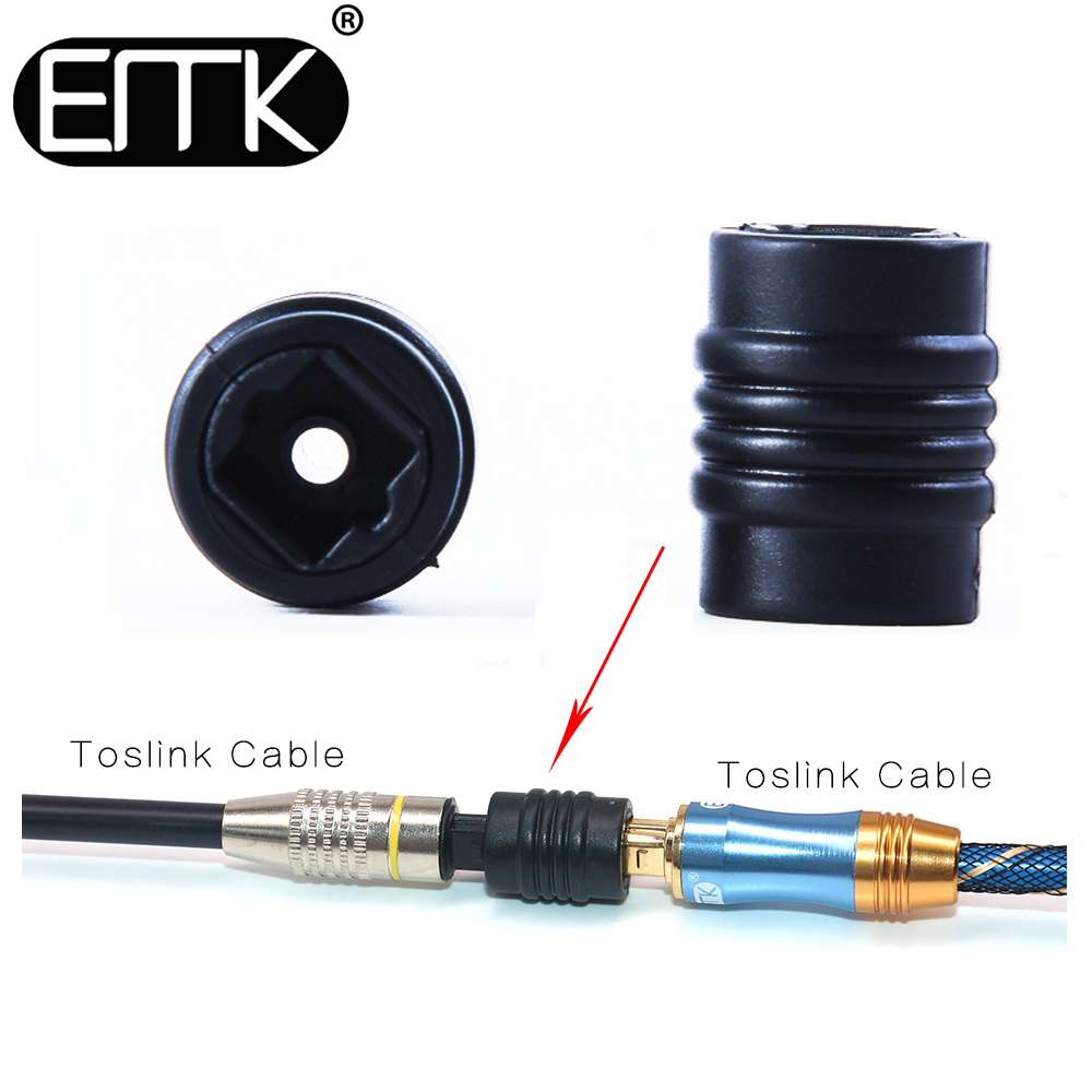EMK 2pc Toslink Extension Coupler Adapter Digital Optical Audio Female To Female Cable Connector Socket