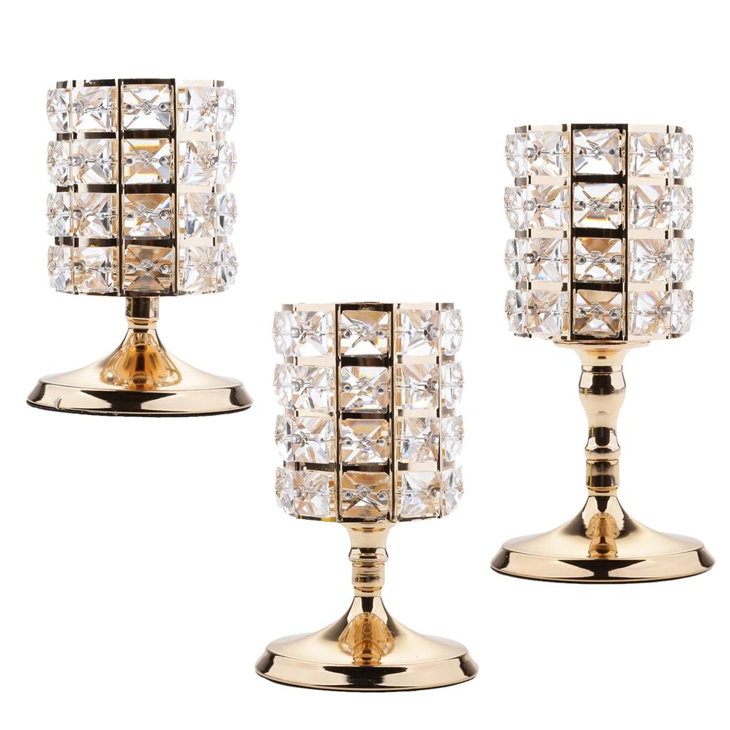 3 Pieces Home Decorative Crystal Votive Candle Holder Zinc Alloy Stands Candlestick Wedding Centerpieces Decor Ornaments