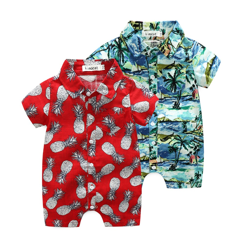 Baby boys cotton jumpers summer vacation rompers fashion infant clothes kids printed pineapple coconut tree overall 17S907
