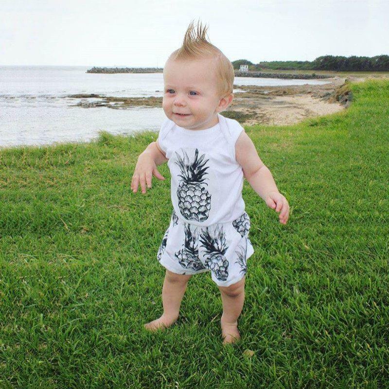 2Pcs/Set Baby Clothes Infant Sleeveless Vest + Shorts Newborn Baby Boys Summer Pineapple Lovely Set Kids Boys Clothes