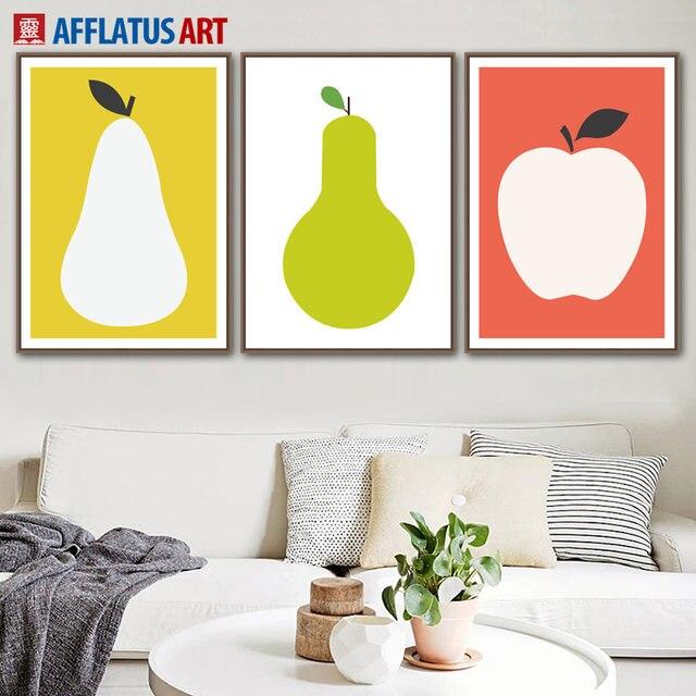 Online Shop AFFLATUS Apple Pear Fruit Nordic Poster Wall Art Canvas ...