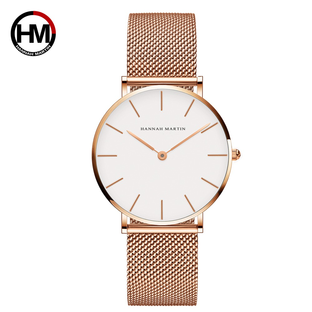 Japan Quartz Movement High Quality 36mm hannah Martin Women Stainless Steel Mesh Rose Gold Waterproof Ladies Watch Dropshipping 2