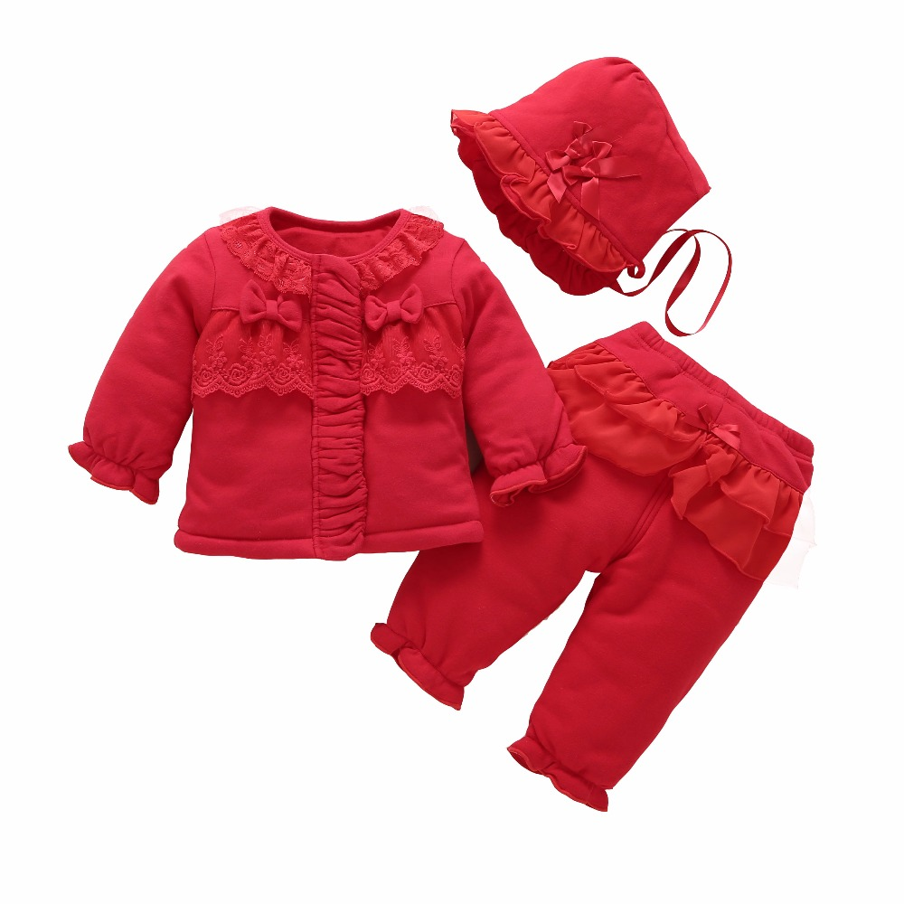 bbf2e2d113c Aliexpress.com   Buy newborn baby girl clothes winter warm coat thick cotton  outerwear 3 pcs outfit baby girls princess set roupa infantil from Reliable  ...