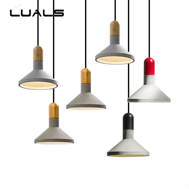 Nordic Retro Cement Pendant Lamp Loft Industrial Pendant Light For Coffee Bar Creative 3 Color Pendant Lights Indoor Lighting