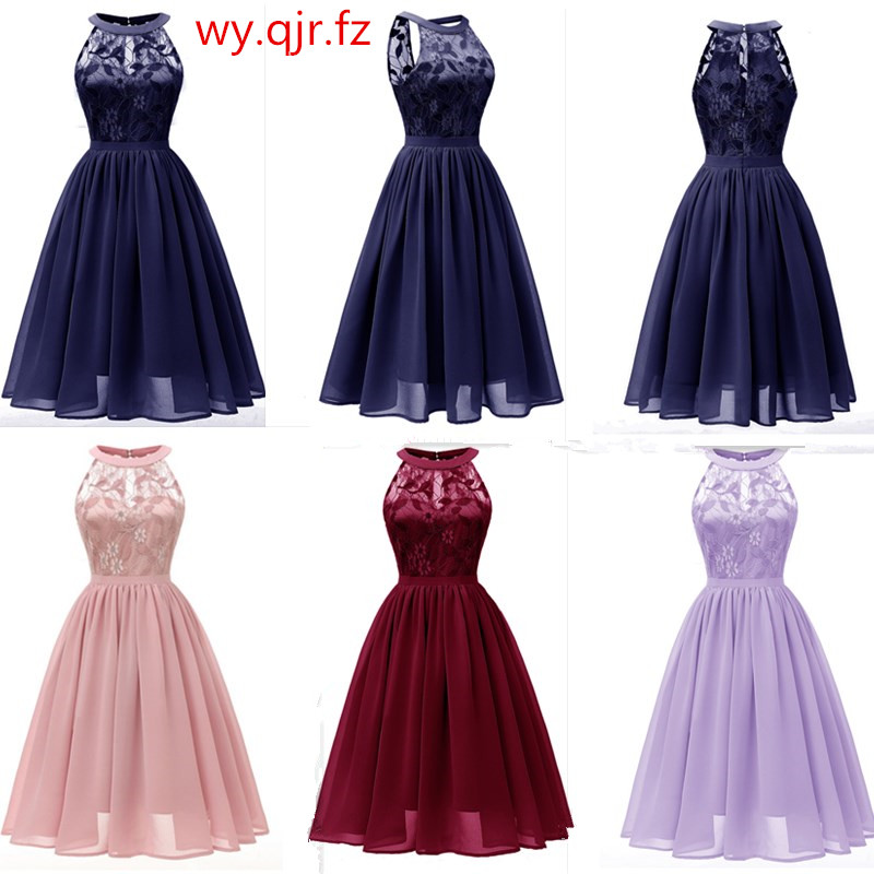 CD1645Z#Chiffon Halter Neck Lace Pink wine red dark blue green Violet   Evening     Dresses   short party prom   dress   girl wholesale