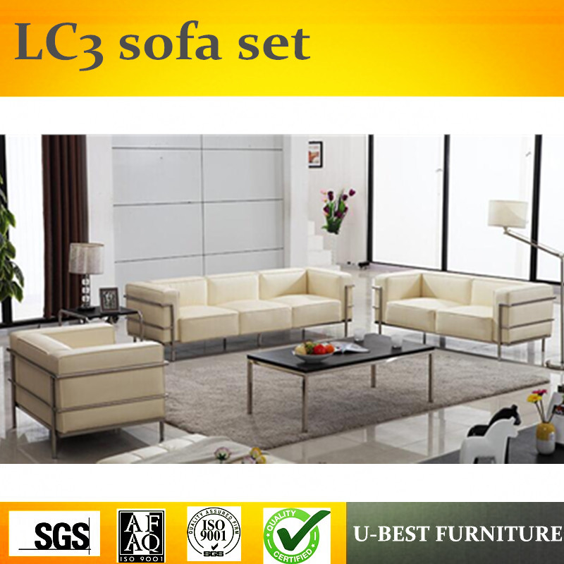 U Best Lc3 Grand Confort Sofa 3 Seats Leather Sofa Living Room Set Modern Style Living Room