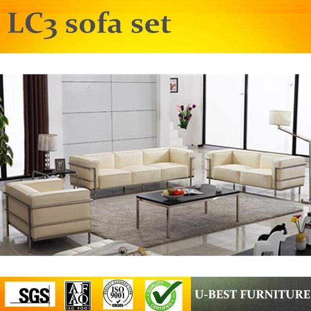 U BEST LC3 grand confort sofa 3 seats leather sofa living room set ...